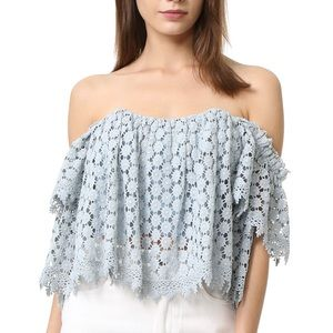 Tularosa blue crochet top